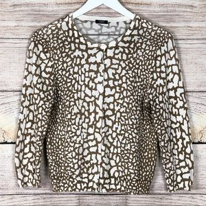 J. Crew | Button Down Animal Print Sweater